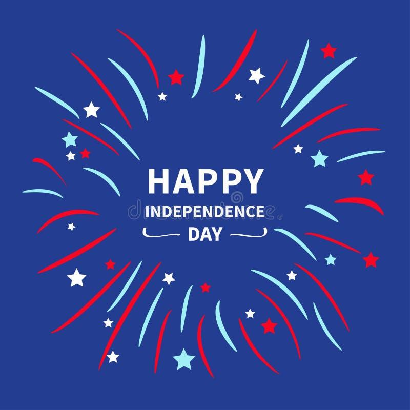 De nachtsky Gelukkige onafhankelijkheid dag de Verenigde Staten van Amerika 4 van Juli Ster en strook Vlak ontwerp Achtergrond vo stock illustratie