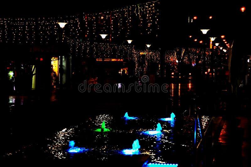 De nachtstraat in de stad is verfraaid met een lichtgevende slinger en een fontein met verlichting Decoratie van de stad in Israë royalty-vrije stock foto