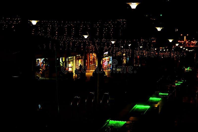 De nachtstraat in de stad is verfraaid met een lichtgevende slinger en een fontein met verlichting Decoratie van de stad van Rish royalty-vrije stock foto