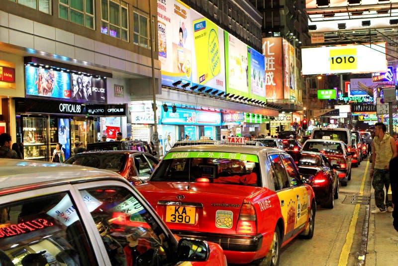 De Nachtverkeer van HONGKONG royalty-vrije stock afbeeldingen