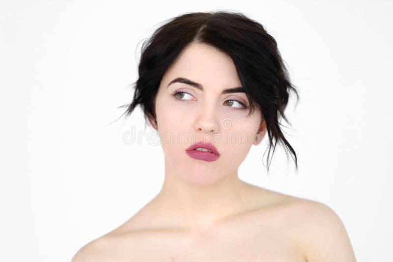 De nadenkende weemoedige peinzende droevige vrouw van het emotiegezicht royalty-vrije stock foto's