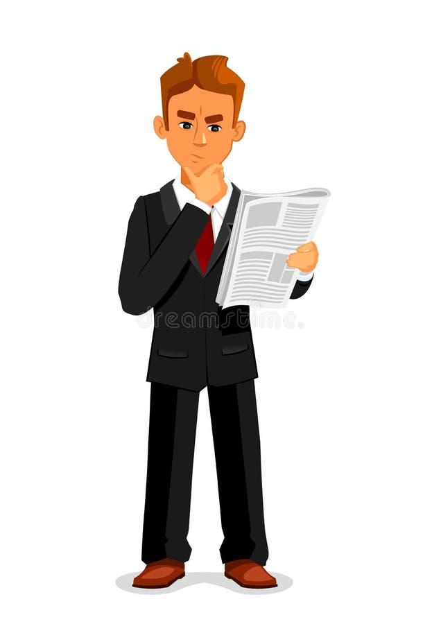 De nadenkende zakenman leest krant stock illustratie