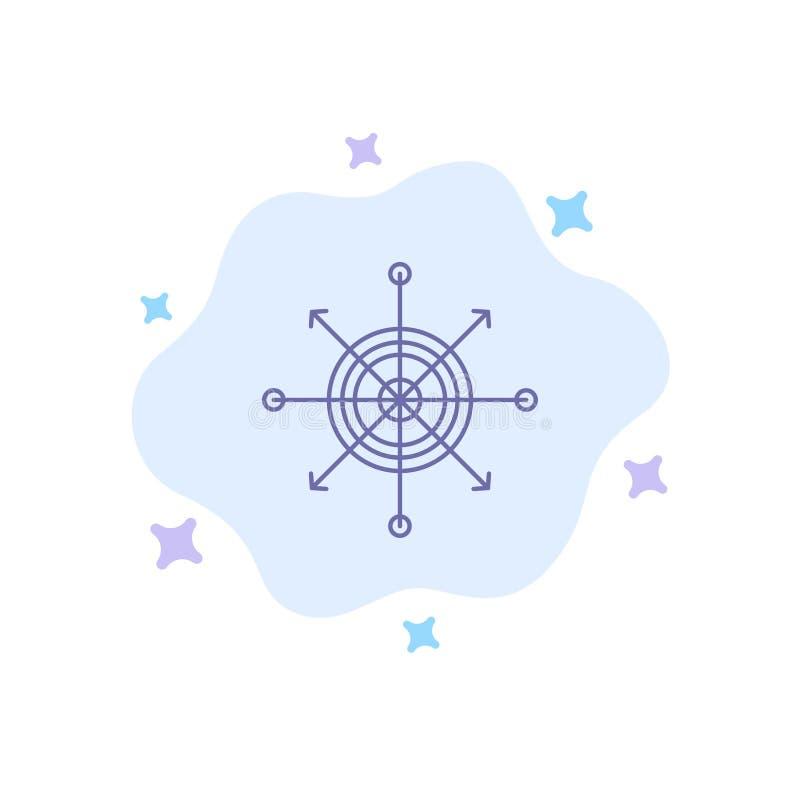 De nadruk, Raad, Pijltje, Pijl, richt Blauw Pictogram op Abstracte Wolkenachtergrond royalty-vrije illustratie