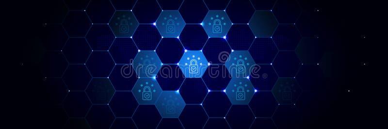 De naleving, vergunning, de EU-pictogram van Algemeen gegevensproject plaatste in technologisch royalty-vrije illustratie