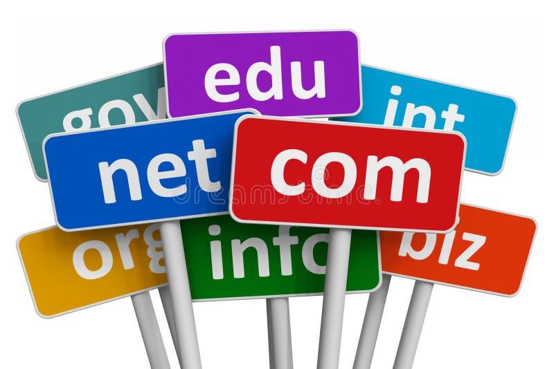 De namen van het domein en Internet concept vector illustratie