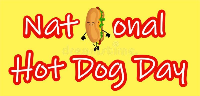 De nationale affiche van de Hotdogdag met grappige beeldverhaalhotdog Het etiket of de zegel van de hotdogdag vector illustratie