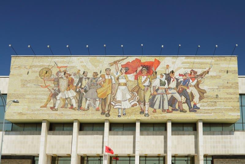 De nationale Bouw van het Museum, Mozaïek, Tiranï ¿ ½, Albanië stock afbeelding