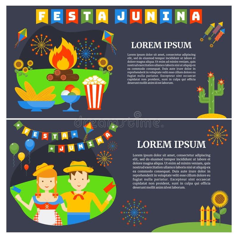 De Nationale Braziliaanse vakantie van Festajunina- Vlakke beeldverhaalstijl vector illustratie