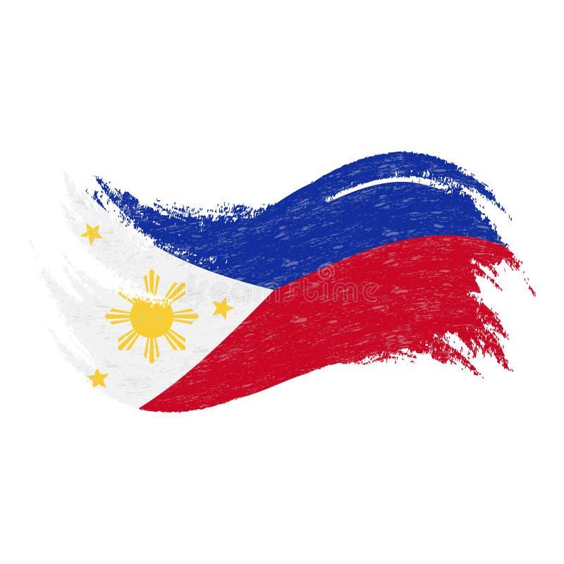 De nationale die Vlag van Filippijnen, ontwierp het Gebruiken van Borstelslagen, op een Witte Achtergrond worden geïsoleerd Vecto royalty-vrije illustratie