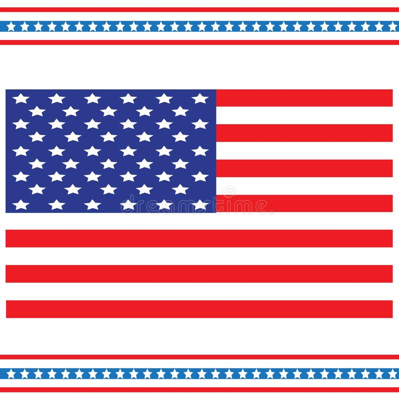 De nationale die vlag van de Verenigde Staten, ook als de Sterren en de Strepen wordt bekend Een vakantie van geheugen en veteran royalty-vrije illustratie