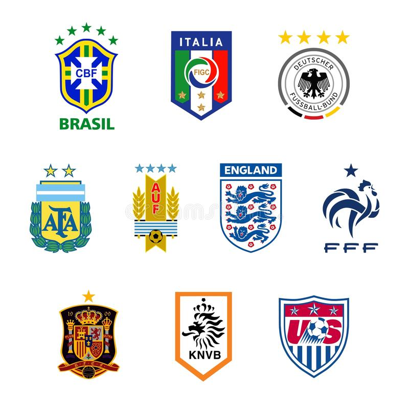 De nationale emblemen van het voetbalteam stock illustratie