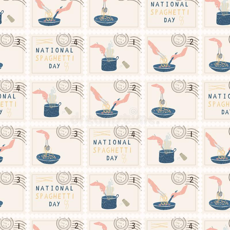 De nationale Postzegels van de Spaghettidag Hand getrokken naadloos vectorpatroon stock illustratie