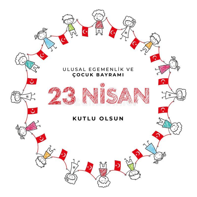 23 de de nationale soevereiniteit van april en dag van kinderen in de Vectorillustraties van Turkije royalty-vrije illustratie