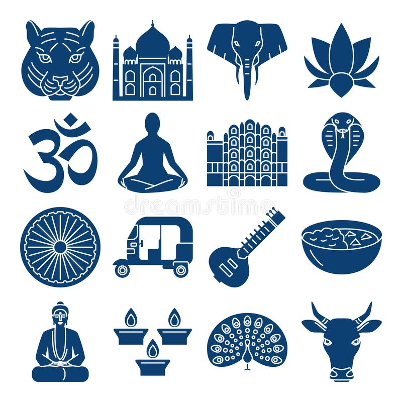 De nationale symbolen van India, silhouetpictogrammen die in vlakke stijl worden geplaatst vector illustratie