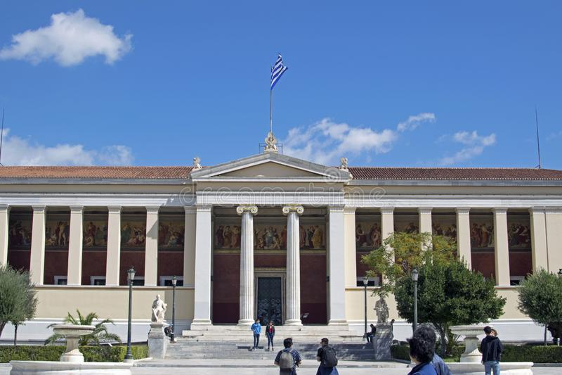 De nationale Universiteit van Athene, een deel van het architecturale drietal van Athene stock afbeelding