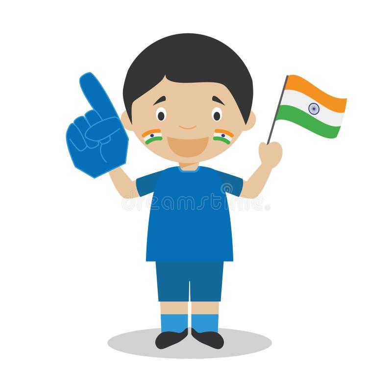 De nationale ventilator van het sportteam van India met vlag en handschoen Vectorillustratie vector illustratie
