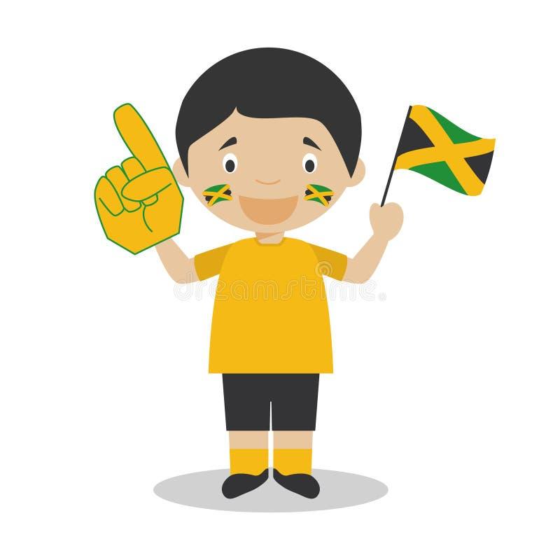 De nationale ventilator van het sportteam van Jamaïca met vlag en handschoen Vectorillustratie royalty-vrije illustratie