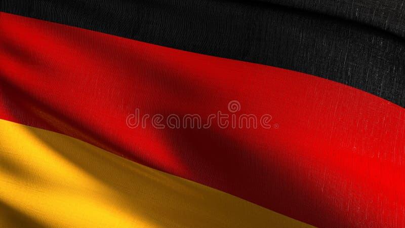 De nationale vlag die van Duitsland in de wind blazen Officieel patriottisch abstract ontwerp 3D teruggevende illustratie van gol royalty-vrije illustratie