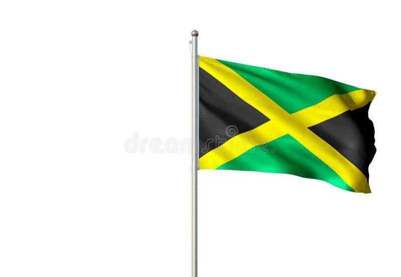 De nationale vlag die van Jamaïca geïsoleerde witte realistische 3d illustratie golven als achtergrond stock illustratie