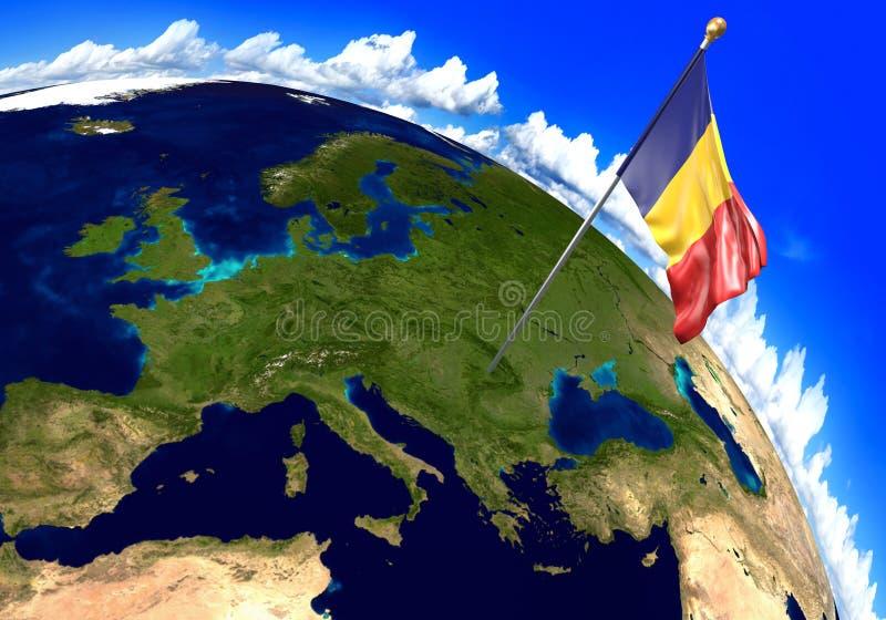 De nationale vlag die van Roemenië de plaats van het land op wereldkaart merken het 3d teruggeven vector illustratie