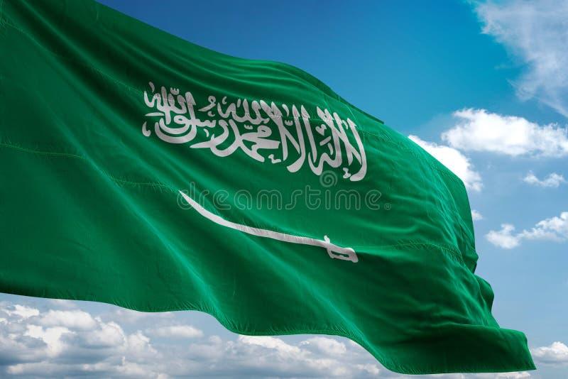 De nationale vlag die van Saudi-Arabië blauwe hemel realistische 3d illustratie golven als achtergrond stock illustratie