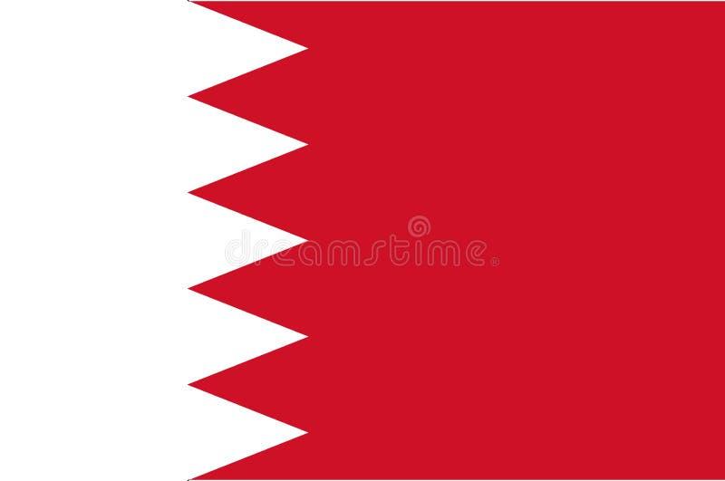 De nationale vlag van Bahrein, officiële vlag van Bahrein, ware kleur stock illustratie