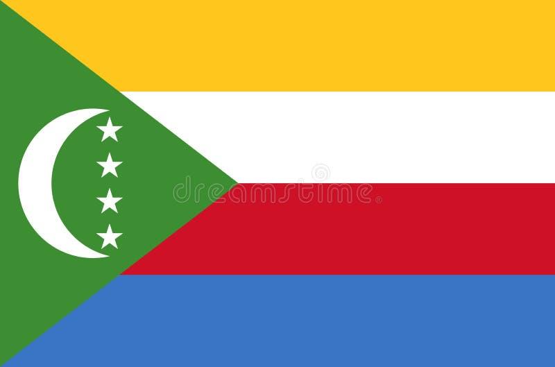 De nationale vlag van de Comoren, officiële vlag van de Comoren, ware kleur royalty-vrije illustratie