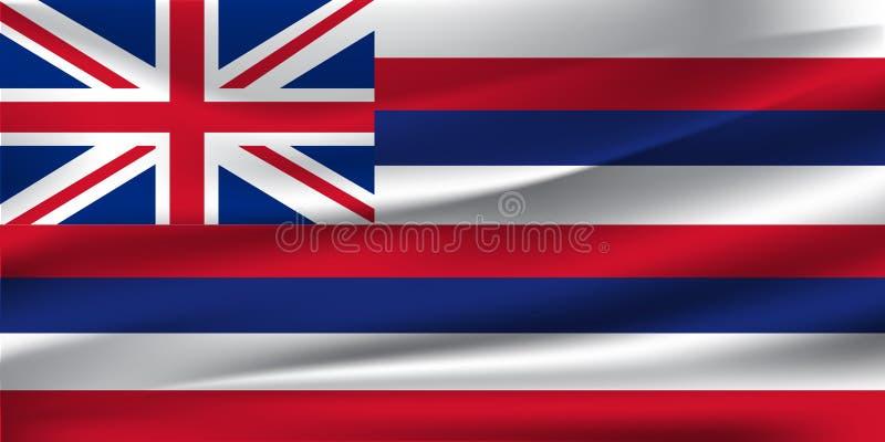 De nationale vlag van Hawaiiaanse islans Het symbool van de staat op golvende katoenen stof Realistische vectorillustratie 10 eps royalty-vrije illustratie