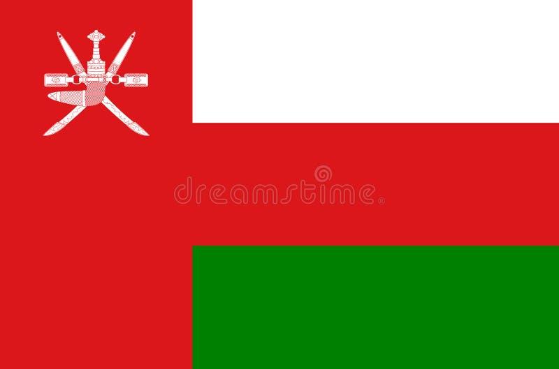 De nationale vlag van Oman, vlag van de nauwkeurige kleuren van Oman, ware kleur royalty-vrije illustratie