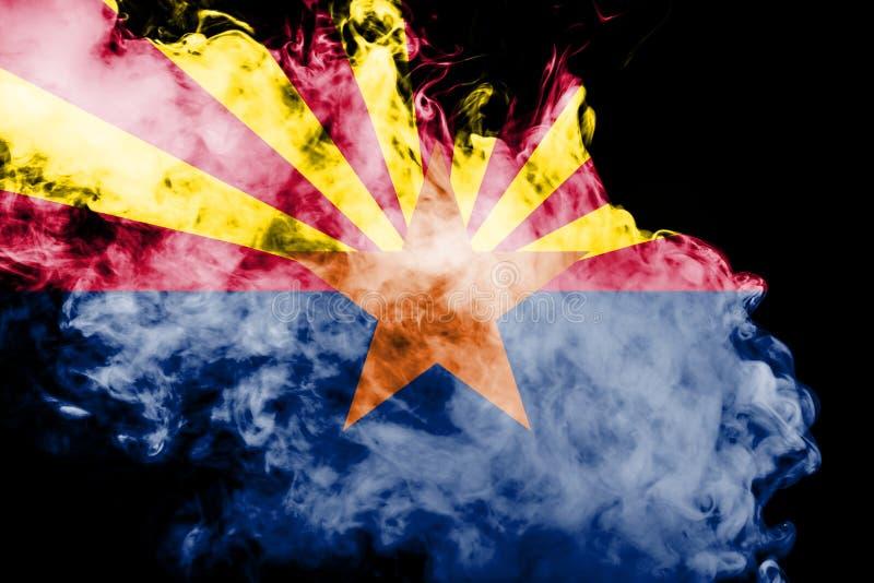 De nationale vlag van de V.S. verklaart binnen Arizona tegen een grijze rook op de dag van onafhankelijkheid in verschillende kle vector illustratie