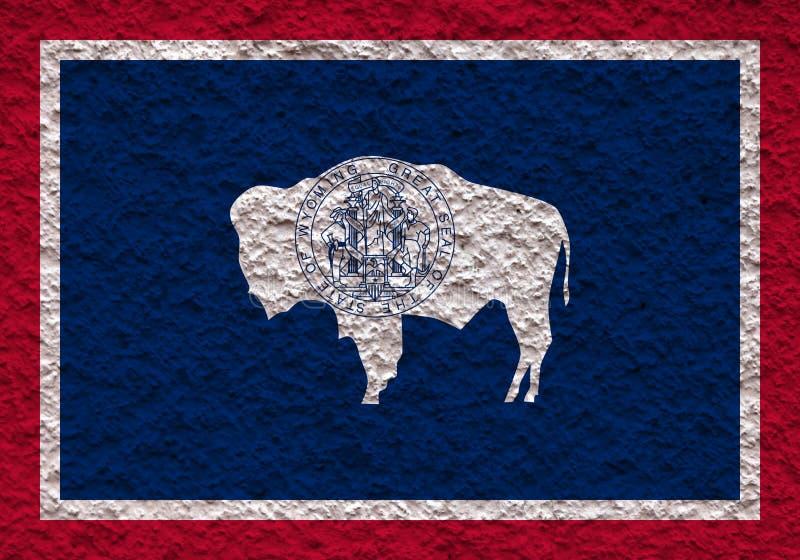 De nationale vlag van de V.S. verklaart binnen Wyoming tegen een grijze muur met steenachtige oppervlakte op de dag van onafhanke vector illustratie
