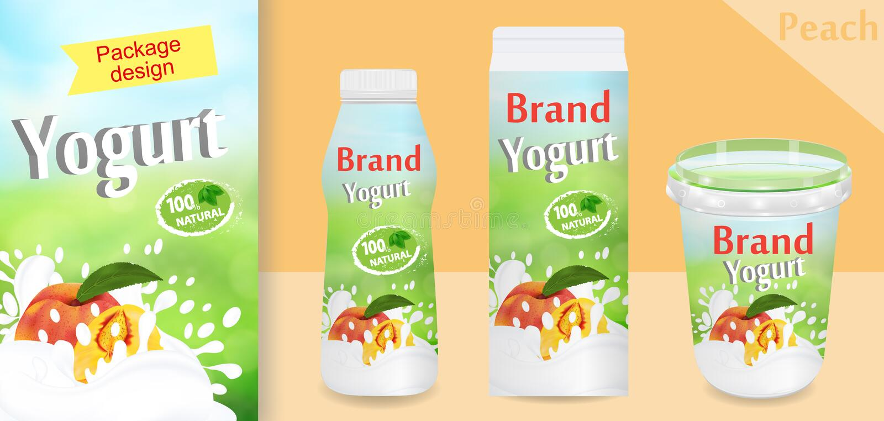 De natuurlijke advertenties van de perzikyoghurt of verpakkingsontwerp Malplaatje diverse pakketten voor yoghurtproducten Toepass vector illustratie