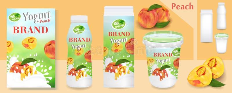 De natuurlijke advertenties van de perzikyoghurt of verpakkingsontwerp Malplaatje diverse pakketten voor yoghurtproducten Toepass stock illustratie