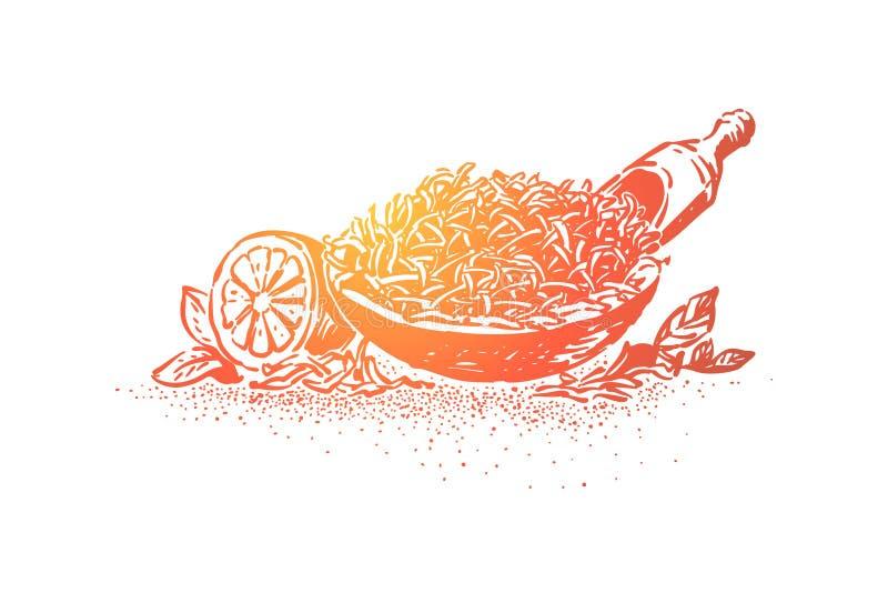 De natuurlijke close-up van theeingrediënten, droge kruidenhoop in kom met lepel, citroen, zure organische citrusvruchten, brouwt stock illustratie
