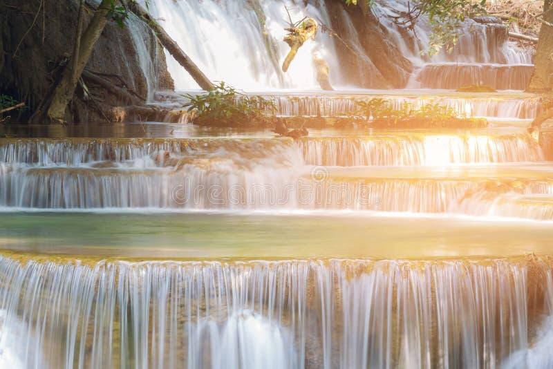 De natuurlijke daling van het stroomwater van tropisch bos stock foto's