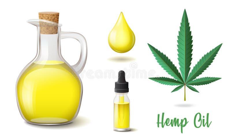 De natuurlijke geplaatste pictogrammen van de hennepolie, fles en glasfles, daling, hennep, het blad van de cannabishennep royalty-vrije illustratie