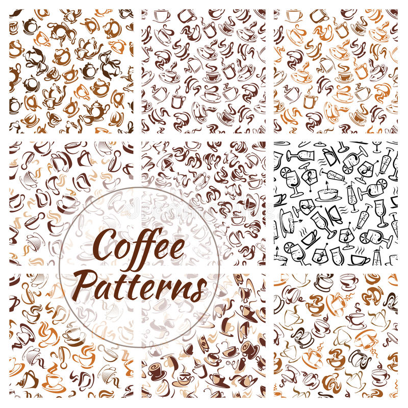 De natuurlijke koffie drinkt naadloze patroonreeks stock illustratie