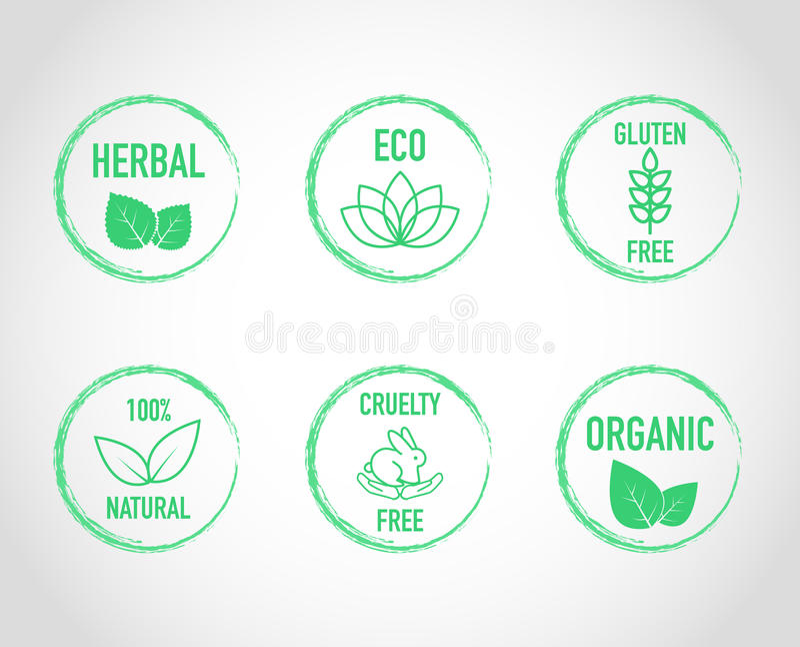 De natuurlijke pictogrammen van het eco organische etiket royalty-vrije illustratie