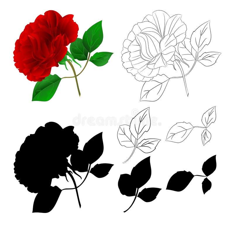 De natuurlijke stam en de bladeren van Rose Purple en silhouet en overzicht op een witte achtergrond uitstekende vectorillustrati stock illustratie
