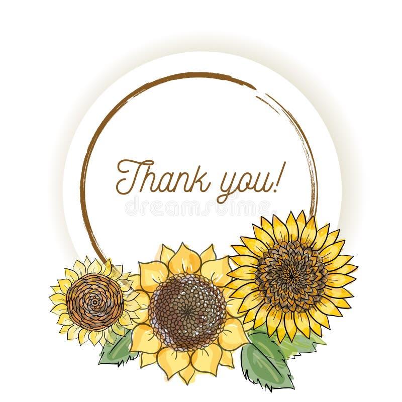 De natuurlijke uitstekende groetkaart met inschrijving van woorden dankt youwith gele zonnebloemen De vectorhand trekt waterverfs royalty-vrije illustratie