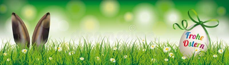 De natuurlijke van het de Oren Groene Lint van het Paaseikonijn Kopbal van Ostern royalty-vrije illustratie
