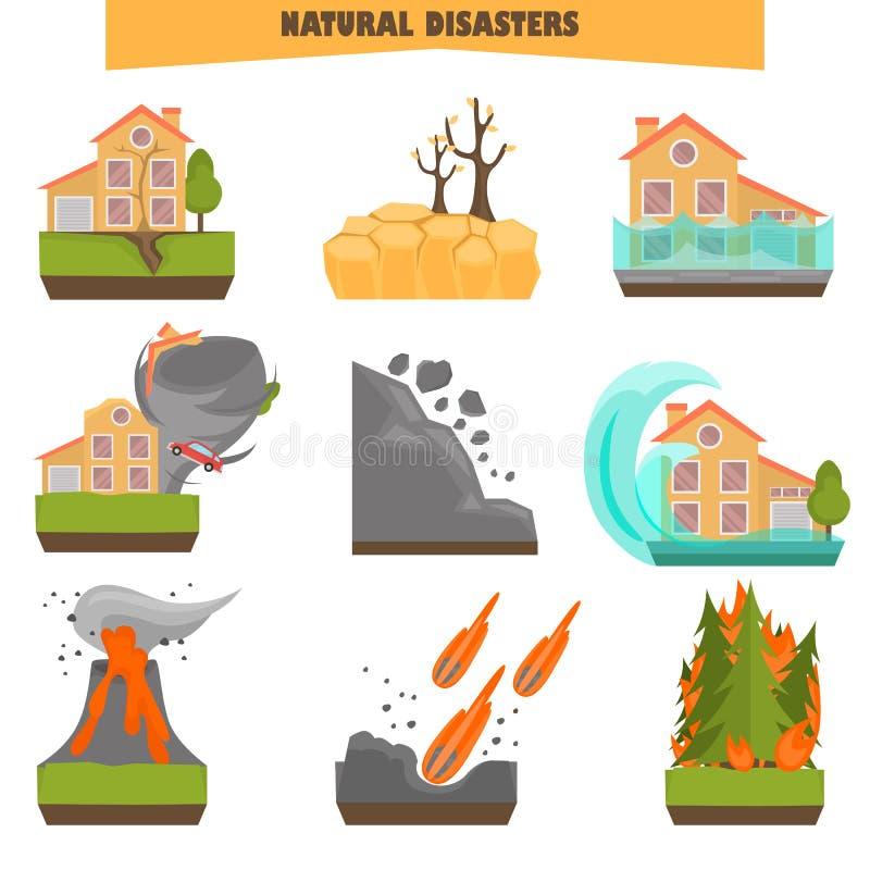 De natuurrampen kleuren vlakke reeks Vector graphhics stock illustratie