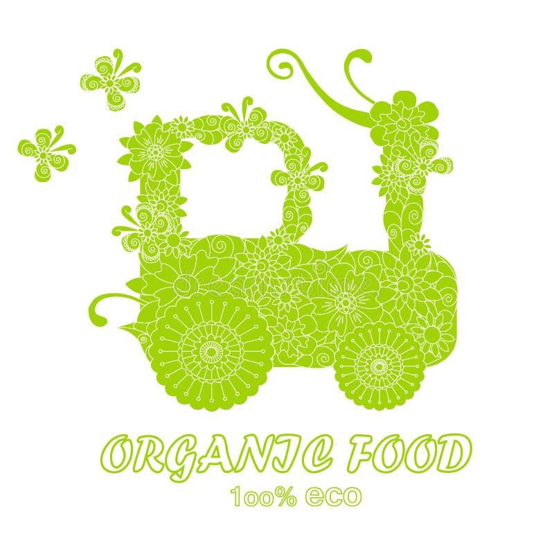 De Natuurvoeding van de typografiebanner, 100% eco, sparen aard, de groene gestileerde tractor van de bloemenkrabbel op wit, stock illustratie