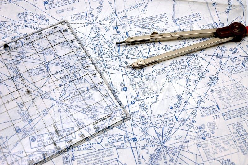 De Navigatie van de luchtroute stock afbeelding