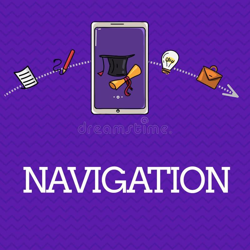 De Navigatie van de handschrifttekst Concept die Wetenschap van van plaats tot plaats het worden van het ruimtevaartuig van schep royalty-vrije illustratie