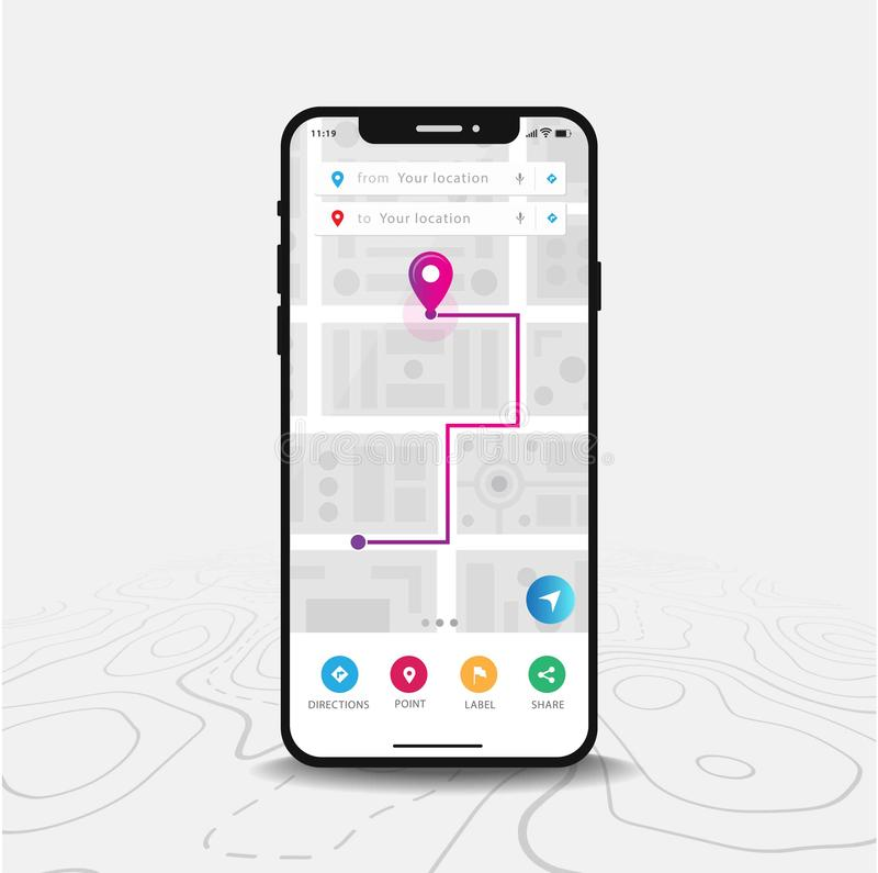 De Navigatie van kaartgps, Smartphone-kaarttoepassing en purple nauwkeurig vastgesteld op het scherm vector illustratie