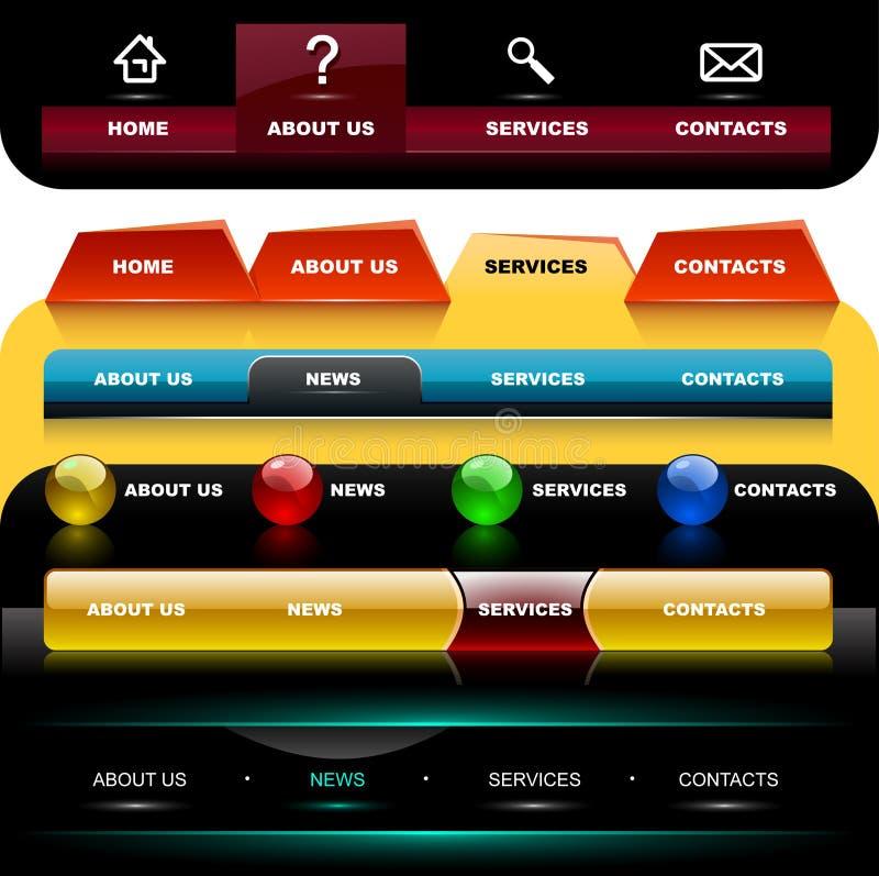 De navigatiemalplaatjes 3 van de website vector illustratie