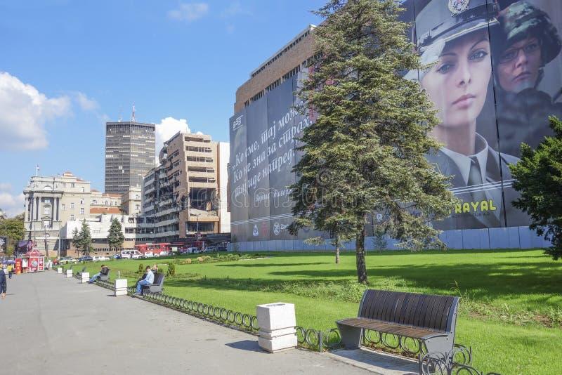 De NAVO ruïnes in Belgrado stock afbeeldingen