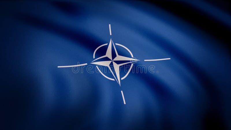 De NAVO Vlag Animatieclose-up van golvend canvas van blauwe stof met wit symbool in centrum Symbool met witte vier-straal vector illustratie