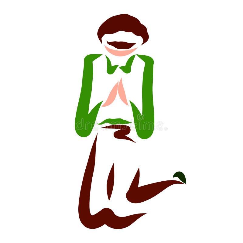 De nederigheid en het gesprek met God, mens bidden, het knielen stock illustratie